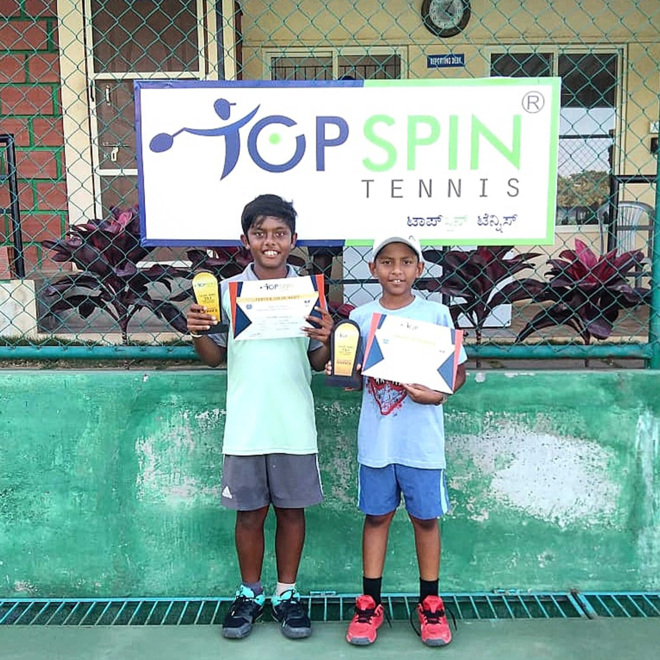 Anurag and Meer -  Winner U12 TS Boys Doubles at TopSpin Tennis